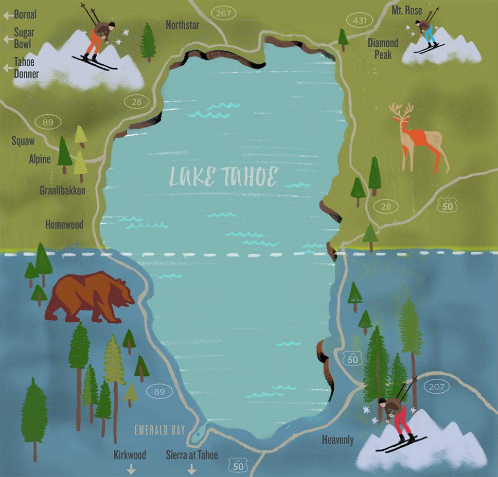 map of Lake Tahoe Ski Resorts