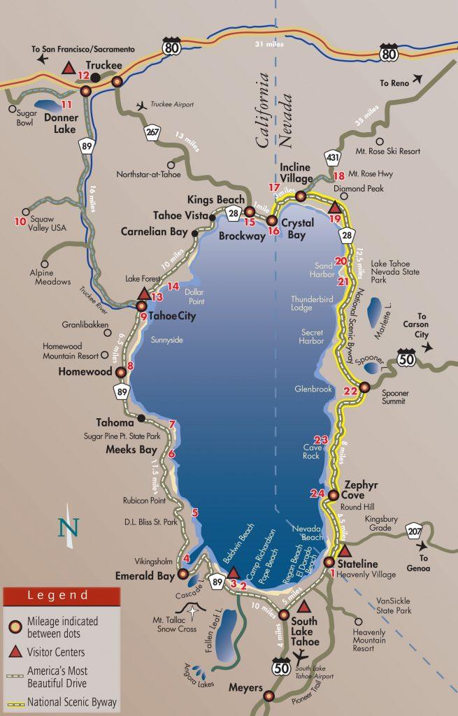picture relating to Printable Map of Lake Tahoe known as Formal Lake Tahoe Customer Bureaus